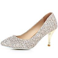 baratos Sapatos de Tamanho Pequeno-Mulheres Sapatos Gliter Primavera / Verão / Outono Salto Agulha Branco / Dourado / Social / Social