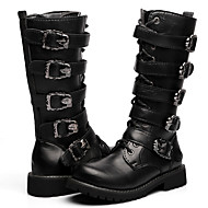 Men's Shoes PU Outdoor / Casual Boots Outdoor / Casual Walking Low Heel Buckle / Zipper Black