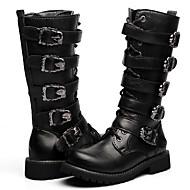 Bărbați Pantofi PU Cizme Plimbare Cataramă Fermoar pentru Casual Negru