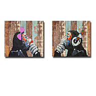 Oil Painting Modern Abstract Orangutan Wood Grain Set of 2 Hand Painted Canvas with Stretched Fram