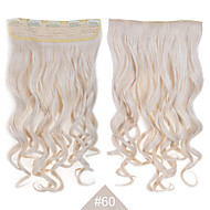 "Blonde Synthetic Clip in Hair Extensions 24""(60cm) #60 120g Long Wavy Curly 5Clips Resistent  Hair"