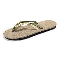 Unisex Slippers & Flip-Flops Comfort Canvas Summer Casual Comfort Braided Strap Flat Heel Black Ruby Green Flat