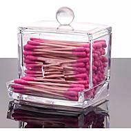 2016 Acrylic Cotton Swab Organizer Box Cosmetic Holder Q-tip Makeup Storage Case Spools Organizer Hotel Supplies