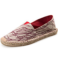 cheap Women's Slip-Ons & Loafers-Unisex Shoes Twill Spring Fall Mary Jane Espadrilles Loafers & Slip-Ons Flat Heel for Casual Dress Black Red