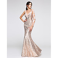 cheap -Mermaid / Trumpet Illusion Neck Floor Length Sequined / Floral Lace Sparkle & Shine / See Through Prom / Formal Evening Dress with Sequin / Appliques by TS Couture® / Illusion Sleeve