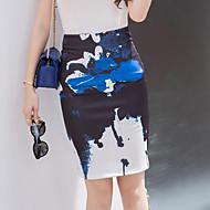 女性用 プラスサイズ ボディコン スカート スリット プリント