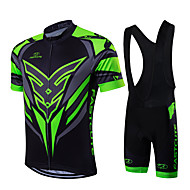 cheap -Fastcute Men's Short Sleeve Cycling Jersey with Bib Shorts - Green / Black Bike Clothing Suits, Quick Dry, Breathable, Sweat-wicking
