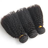 3 Bundler Brasiliansk hår Afro / Kinky Curly Jomfruhår Menneskehår, Bølget 8-20 inch Menneskehår Vævninger Menneskehår Extensions / Kinky Krøller