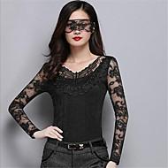 Majica s rukavima Žene Jednobojni V izrez Čipka Poliester