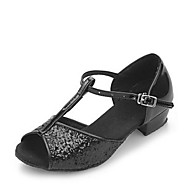 "Women's Kids' Latin Ballroom Sparkling Glitter Sandal Low Heel Black Silver Gold Fuchsia 1"" - 1 3/4"" Non Customizable"