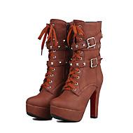 baratos Sapatos de Tamanho Pequeno-Mulheres Sapatos Courino Outono / Inverno Botas da Moda Botas Salto Robusto Tachas / Presilha / Cadarço Bege / Marron / Amêndoa