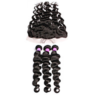 6A Grade Unprocessed Malaysian Virgin Hair Bundles With Lace Frontal  Free Part Loose Wave Fast Shipping