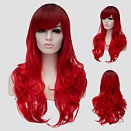 Kobieta Peruki syntetyczne Bez czepka Długo Falowane Czerwony Część Boczna Z grzywką bezosłonowe Peruki Halloween Wig Karnawałowa Wig