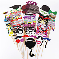 cheap Holiday Decorations-76 Pcs/Set Diy Wedding Souvenirs Photo Props With A Bamboo Stick Booth Props Mustache Decoration