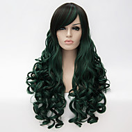 Women Synthetic Wigs Capless Long Curly Green With Bangs Halloween Wig Carnival Wig Party Wig Costume Wig