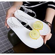 여성 구두 PVC 여름 샌들 플랫 제품 캐쥬얼 화이트 블랙