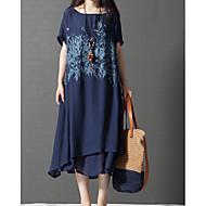 ieftine -Pentru femei Mărime Plus Size Chinoiserie Bumbac Linie A Larg Rochie - În Straturi Imprimeu, Copaci / Frunze Midi Albastru