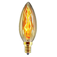 baratos Incandescente-1pç 40W E14 C35 Branco Quente 2300k Retro / Regulável / Decorativa Incandescente Vintage Edison Light Bulb 220-240V