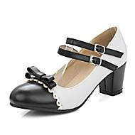 tanie Small Size Shoes-Damskie Skóra patentowa Wiosna / Lato / Jesień Mary Jane Szpilki Gruby obcas Kokarda / Klamra Żółty / Niebieski / Różowy / Formalne spotkania