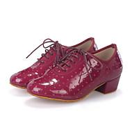 baratos Sapatilhas de Dança-Mulheres Sapatos de Dança Latina / Sapatos de Jazz / Sapatos de Dança Moderna Couro Salto Cadarço Salto Robusto Personalizável Sapatos de Dança Azul Claro / Amêndoa / Vinho / Espetáculo