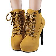 お買い得  特別セール-女性用 靴 コットン 繊維 冬 秋 スノーブーツ コンフォートシューズ アイデア グラディエーターサンダル ブーティー ファッションブーツ ブーツ スティレットヒール プラットフォーム のために カジュアル ドレスシューズ パーティー ブラック Brown レッド ピンク