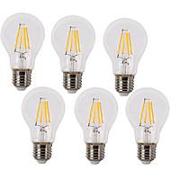 6kom 4W 400 lm E26/E27 LED filament žarulje A60(A19) 4 LED diode COB Vodootporno Ukrasno Toplo bijelo Hladno bijelo AC 220-240V