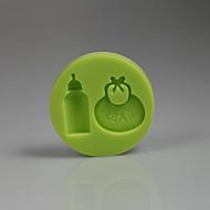 3d baby tilbehør bib flaske silikon kake mold dekorasjon baby bursdag farge tilfeldig