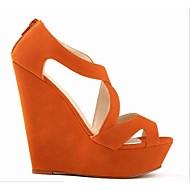 baratos Sapatos Femininos-Mulheres Sapatos Courino Verão Sandálias Salto Plataforma Ziper Verde / Azul / Amêndoa / Calcanhares