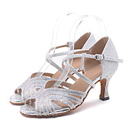 cheap Latin Shoes-Women's Latin Shoes Sparkling Glitter Sandal / Heel Rhinestone / Sparkling Glitter / Buckle Flared Heel Customizable Dance Shoes Pink /