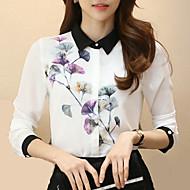 Krave Dame - Blomstret, Blomst Arbejde Plusstørrelser Skjorte Polyester