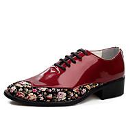 メンズ 靴 PUレザー 秋 コンフォートシューズ オックスフォードシューズ 編み上げ 用途 カジュアル ホワイト ブラック レッド ダークグリーン