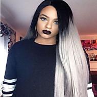 Mulher Perucas sintéticas Frente de Malha Longo Liso Cinza Raízes Escuras Riscas Naturais Repartida ao Meio Cabelo Ombre Peruca de