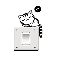 """fashion vinyl wall sticker switch humorous cute black cat """