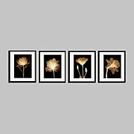 baratos -Floral/Botânico Quadros Emoldurados / Conjunto Emoldurado Wall Art,PVC Material Preto Cartolina de Passepartout Incluída com frame For