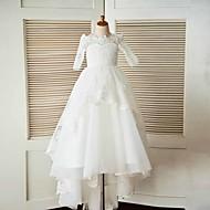 A-line sweep / brush train vestido de menina de flor - meias meias de tule com pescoço por thstylee