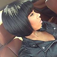 Mulher Perucas de Cabelo Natural Cabelo Humano Frente de Malha Densidade Liso Peruca Preto jet Preto Marrom Escuro Castanho Amendoa Curto