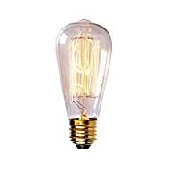 billige Glødelampe-1pc 40W E26 / E27 ST58 Varm hvit 2300k Kontor / Bedrift Mulighet for demping Dekorativ Glødende Vintage Edison lyspære 220-240V