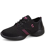 "cheap Dance Sneakers-Women's Dance Sneakers Modern Fabric Sneaker Performance Outdoor Lace-up Flat Heel White Black Pink 2"" - 2 3/4"" Non Customizable"