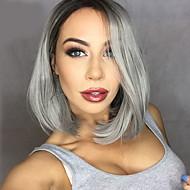 Naisten Synteettiset peruukit Lace Front Keskikokoinen Suora Harmaa Sivuosa Keskijakaus Liukuvärjätyt hiukset Tummat juuret Luonnollinen