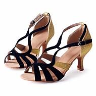 baratos Sapatilhas de Dança-Sapatos de Dança(Preto) -Feminino-Personalizável-Latina / Salsa