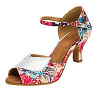 baratos Sapatilhas de Dança-Mulheres Sapatos de Dança Latina / Sapatos de Salsa Glitter / Cetim Sandália / Salto Gliter com Brilho / Presilha / Flor Salto Personalizado Personalizável Sapatos de Dança Rosa claro / Interior