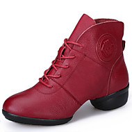 cheap Dance Boots-Women's Modern Shoes / Dance Boots Leather Boots / Split Sole Outdoor Lace-up Low Heel Non Customizable Dance Shoes Black / Red