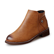 baratos Sapatos Femininos-Feminino-BotasRasteiro-Preto Marrom-Couro Ecológico-Escritório & Trabalho Casual