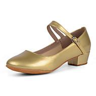 """billige Moderne sko-Barne Ballett Latin Lær Høye hæler Trening Spenne Tykk hæl Svart Sølv Rød Gylden 1 """"- 1 3/4"""" Kan ikke spesialtilpasses"""