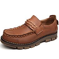 tanie Small Size Shoes-Męskie Skórzane buty Skóra nappa Wiosna / Lato / Jesień Oksfordki Ciemnobrązowy / Impreza / bankiet