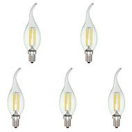 4W E12 LED-lysestakepærer C35 4 leds COB Mulighet for demping Kjølig hvit 400lm 6000K AC 110-130V