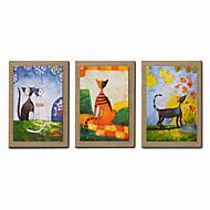 billige Innrammet kunst-Hang malte oljemaleri Håndmalte - Abstrakt / Mennesker / fantasi Moderne Lerret