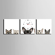 MINI SIZE E-HOME Cats And Dogs Clock in Canvas 3pcs Wall Clocks