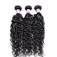 voordelige -Echt haar Braziliaans haar Bundle Hair Golvend Watergolf Haarextensions 3-delig Zwart