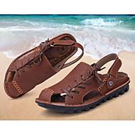 Masculino sapatos Pele Verão Sandálias Cadarço Para Marron café